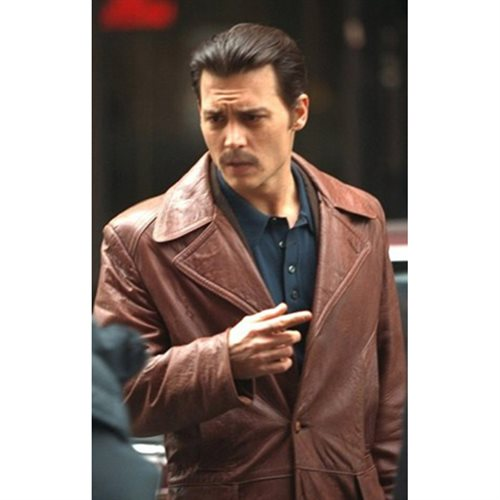 Sherry Marton's kids cloth - Black Leather jacket Donnie Brasco Leather Jacket - Brown  - Genuine Leather