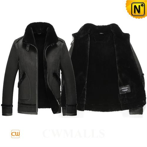 Cwmalls Commodity's men's cloth - cwmalls Shearling Leather Jacket - black - leather with shearling
