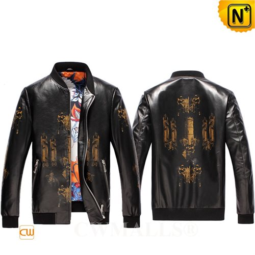 Cwmalls Commodity's men's cloth - CWMALLS Leather Bomber Jacket - BLACK - natural premium sheepskin leather