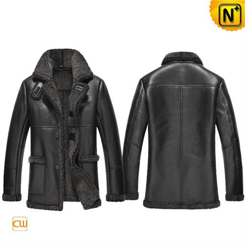 Cwmalls Commodity's men's cloth - cwmalls Sheepskin Trimmed Coat - black - leather and shearling