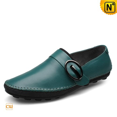 Cwmalls Commodity's men's shoes - CWMALLS Leather Driving Loafers - Green - leather