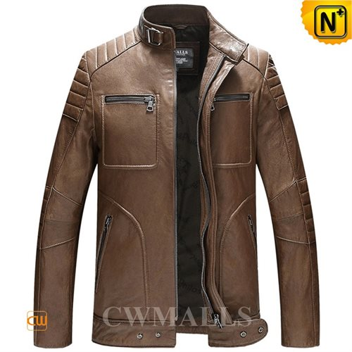 Cwmalls Commodity's men's cloth - CWMALLS Leather Biker Jacket - black and brown - genuine lambskin leather