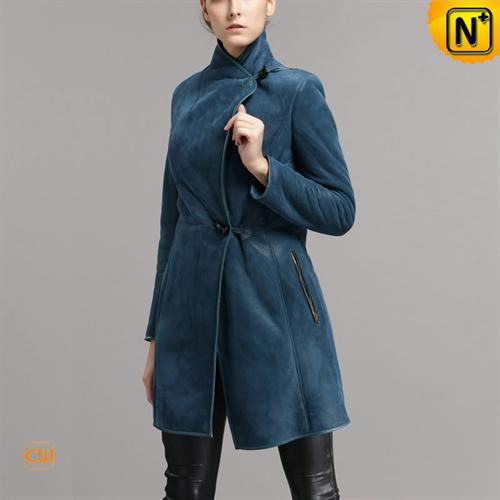 Cwmalls Commodity's women's cloth - cwmalls Womens Shearling Coat - Denim - shearling
