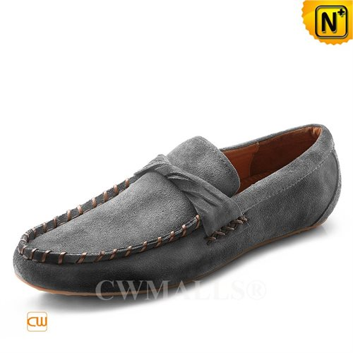 Cwmalls Commodity's men's shoes - CWMALLS Leather Driving Loafers - Grey - Genuine Cowhide Leather