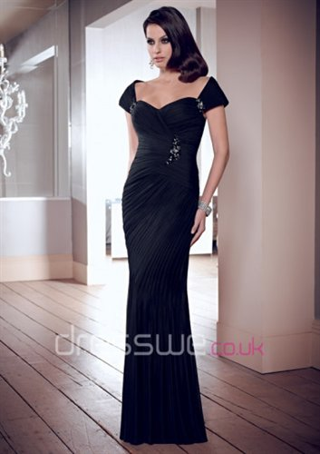 Sherry Sherry's painting - 2014 New Style Off-the-shoulder Neckline Black Pleated Wrinkled Ruffles Beading Mother Of The Bride